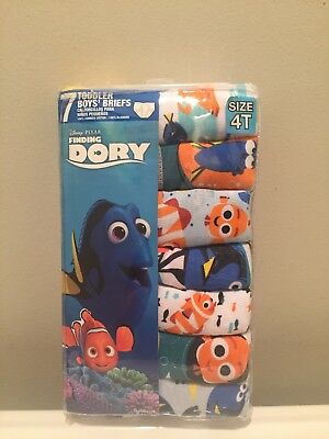 Disney Pixar Finding Dory 7 Cotton Briefs Toddler Boys Underwear Sz 4T NIP