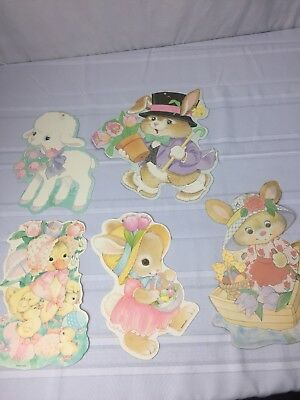 5 Vintage Eureka Easter Die Cuts all Double sided Lamb Bunny Rabbit Duck basket
