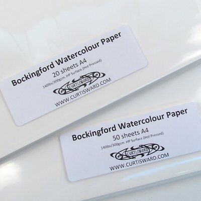 Bockingford Artists Hot Pressed WaterColour Paper A4 Pack 50 Sheets 300g Pack