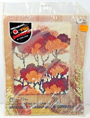 "Red Heart Rug Pattern Autumn Trees 6628 Vintage Canvas 20"" X 27"" NEW USA"