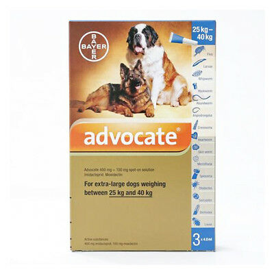 Advocate For Dogs 25-40 kg 4.0 ml 3 tubes Treatment Of Mites In Ear EXP 09/2018
