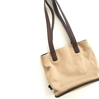 Coach Vintage Canvas Tote Bag Leather Handles Striped Lining Tan