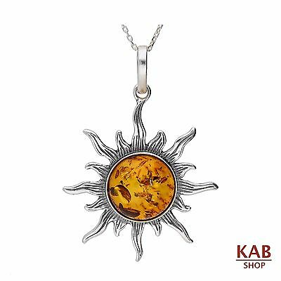 COGNAC BALTIC AMBER & STERLING SILVER 925 PENDANT BIG SUN with CHAIN, KAB-98