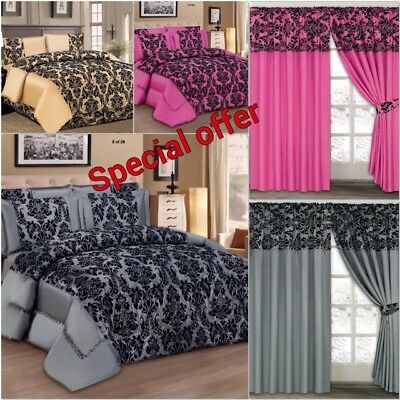 4PCS Damask Flock Complete Bedding Set Duvet Cover / Matching Curtains available