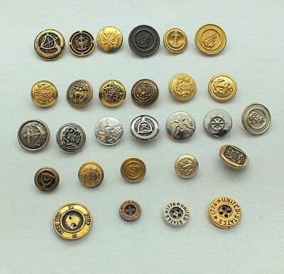 Vintage Brass Gold Silver MILITARY Shank Buttons Lot of 28