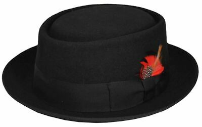 Scala Men's Wool Rocker Wool Pork Pie Fedora Black