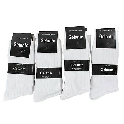6 Pairs Men's White Dress Casual Crew Brand New High Quality Socks Size 10-13