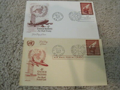 Two 1957 United Nations First Day Cover Postcard Air Mail 4 Cents Unused