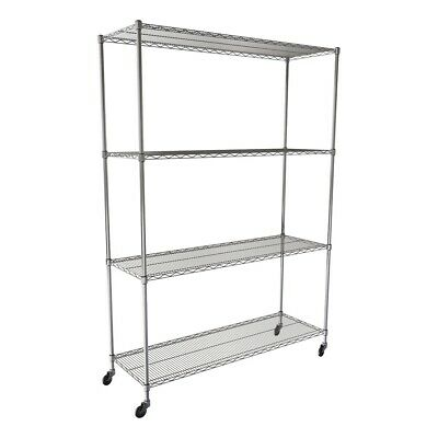 """SafeRacks NSF 4-Tier Wire Shelving Rack with Wheels - 60""""W x 72""""H x 24""""D"""