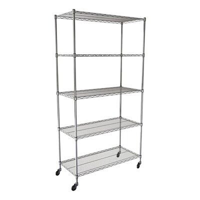 """SafeRacks NSF 5-Tier Wire Shelving Rack with Wheels - 36""""W x 72""""H x 18""""D"""