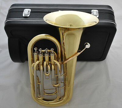 Professional Gold 4 Valve Euphonium Horn Bb Key Cupronickel Tuning Pipe new Case