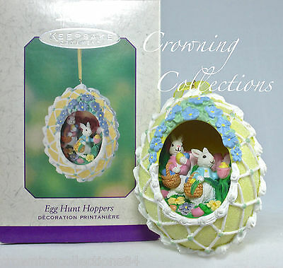 2003 Hallmark Egg Hunt Hoppers Sugar Easter Egg Panorama Ornament Bunny Diorama