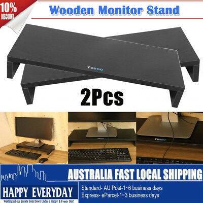 2Pcs Wooden Monitor Stand LED LCD Computer Riser Desktop Holder Office 1 Layer