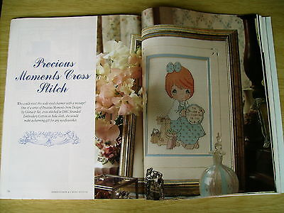 Embroidery & Cross Stitch Vol 2 #1~Precious Moments~Bear~Veg Sampler~Baby Gown
