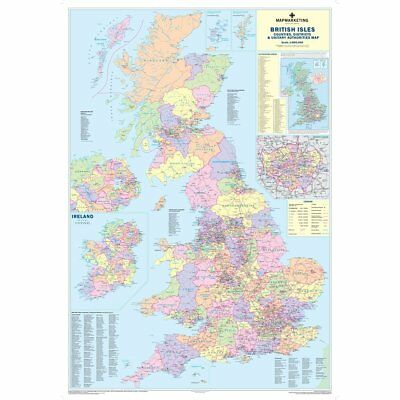 UK COUNTIES LARGE Wall Map For Business Laminated PicClick UK - Large wall map of uk