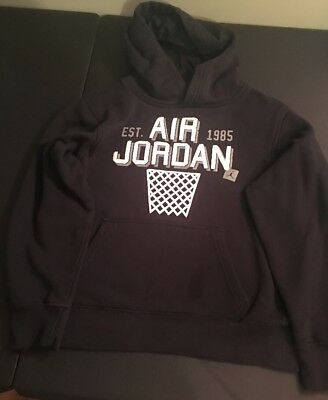Lightly Used Youth Boys Nike Jordan Black & White Hoodie Size Large