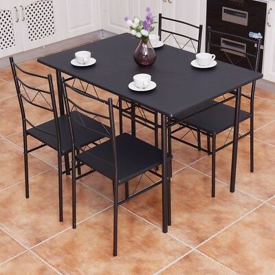 5 pcs Wooden Metal Dining Table 4 Chairs Set Kitchen Breakfast Dinner Furniture