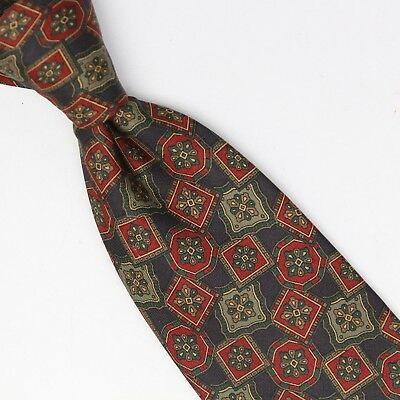 Brooks Brothers Silk Necktie Gray Red Sage Green Geometric Print Made in USA Tie