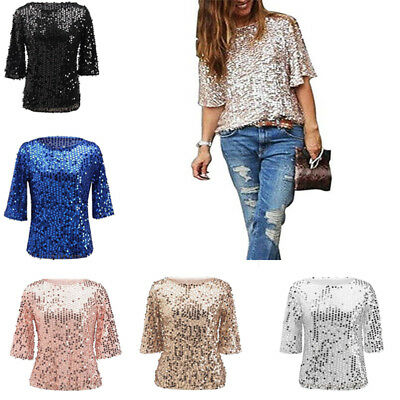 Ladies Women Sparkle Shine Glitter Sequin T Shirts Ball Party Casual Tops Blouse