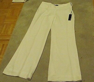 White Wide Leg Women's Pants Size 12 Regular Nautical Look Fully Lined