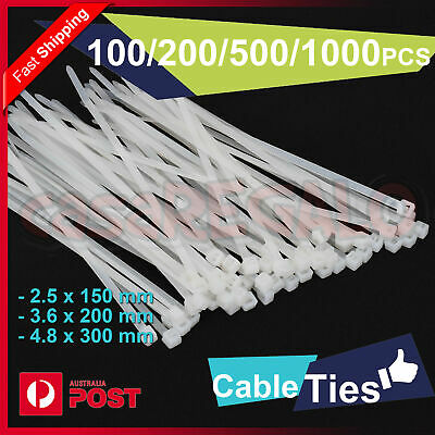 Cable Ties Zip Ties Nylon UV Stabilised 100/200/500/1000 x Bulk White Cable Tie