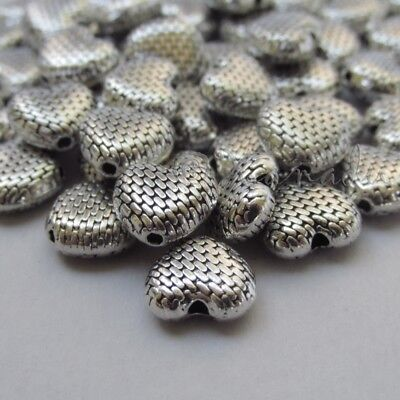 Heart Shaped 10mm Antiqued Silver Plated Spacer Beads B8883-10 20 Or 50PCs