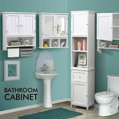 Bathroom Storage Cabinet Furniture Tallboy Toilet Wall Hung/Stand 4 Style White