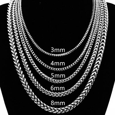 "3/4/5/6mm 18""~30"" Men Square Wheat Braided Silver Stainless Steel Chain Necklace"