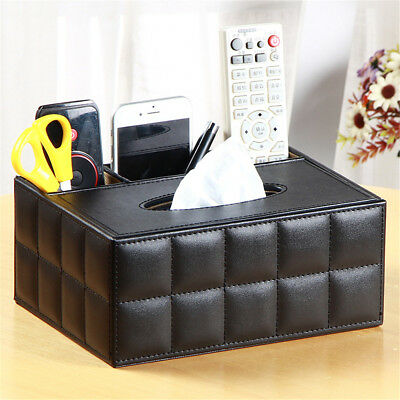 PU Leather Tissue Box Cover Home Table Car Napkin Case Holder Storage Organiser
