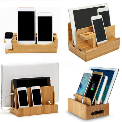 Bamboo Wood Charging Dock Station Charger Holder Stand for iPhone Watch iPads
