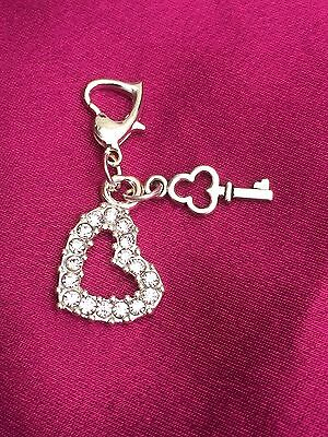 Brides Crystal Heart Clip On Charm For Bracelet, Bouquet, Gift, Garter. Wedding.