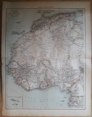 1900's colonial empire Cassell's world atlas sheet - North West Africa