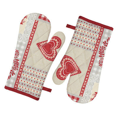 Stow Green Nordic Patchwork Set of 2 Gauntlets Oven Glove Mitts Red Love Hearts