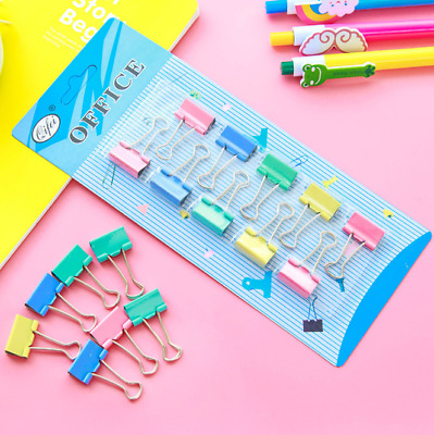 10Pcs/Set Colorful Metal Binder Clips File Bill Paper Clip Office Student Supply