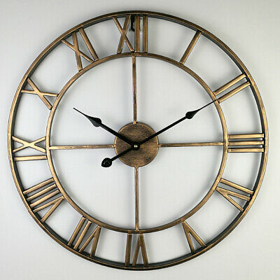 Vintage Round Retro Time Big Display Clock Mechanism Wall Clock Quartz 16x2inch
