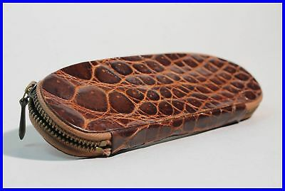 1950ies WARM BROWN pouch CROCO print Leather etui for 2 FOUNTAIN pens