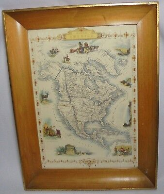 Framed North America Map Drawn & Engraved By J Rapkin Ill. By J Marchant
