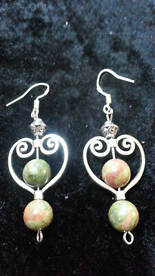 Genuine Natural Unakite Beads Gemstone Sterling Silver 925 Hooks Earrings