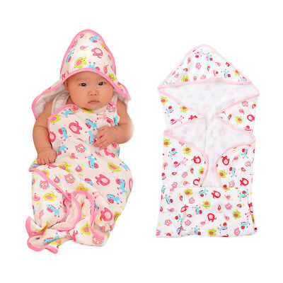 Soft Baby Super Coral Fleece Hooded Bath Towel Wrap Robe Infant Sleep Blanket
