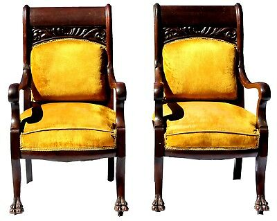 Antique Early 20th c. Pair of Rosewood Parlor Chairs in Mustard Yellow Velvet