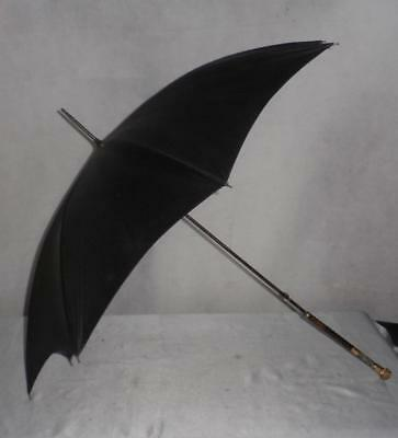 Lovely Antique Ladies 18Ct Gold Plate Black Canopy Umbrella