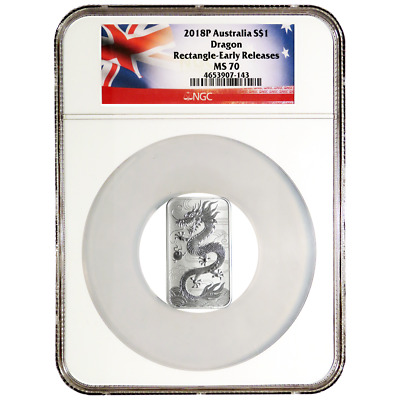 2018 $1 Silver Australian Dragon Rectangle 1 oz NGC MS70 Early Releases