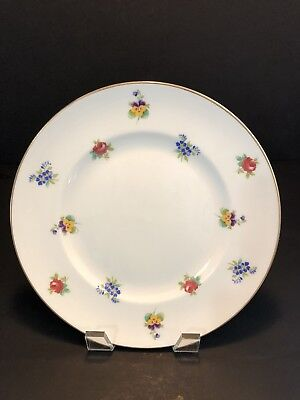 "Vintage Crown Staffordshire Fine Bone China 8 1/4"" Floral Plate w/ Gold Trim"