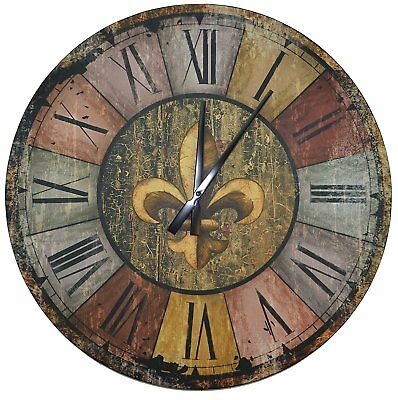 """Lulu Decor, Vintage French Country Style Rustic Round Wood Wall Clock 23.50"""","""