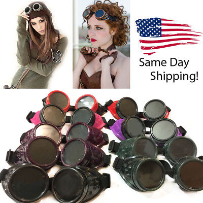 Steampunk Goggles Cosplay Vintage Glasses Welding Motocross Cyber Punk Biker USA