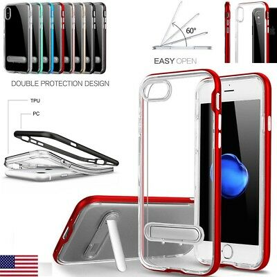 For iPhone10 X 8 7 6S 6 Clear Bumper Silicone Case With Kick Stand Holder Cover