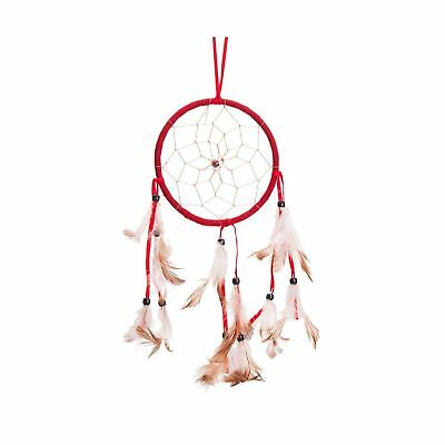"15"" Traditional Red Dream Catcher with Feathers Wall or Car Hanging Ornament ..."