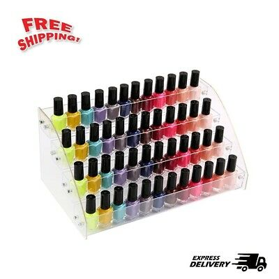 Clear Acrylic Nail Polish Display Stand Organizer Makeup Holder Rack 40 Bottles