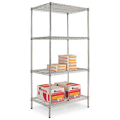 Alera Industrial Heavy Duty Wire Shelving Starter Kit, 4-Shelf, 36w x 24d x 72h