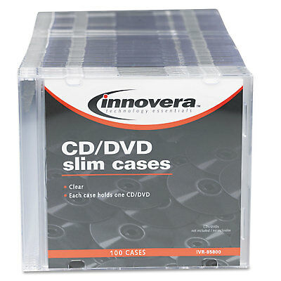 Innovera CD/DVD Polystyrene Thin Line Storage Case Clear 100/Pack 85800
